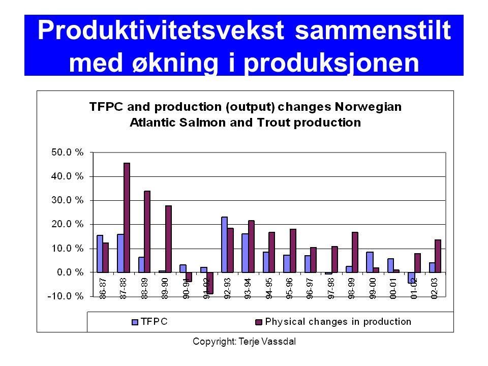Produktivitetsvekst sammenstilt med økning i produksjonen