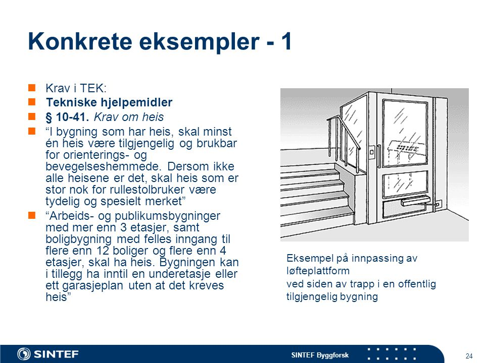 Konkrete eksempler - 1 Krav i TEK: Tekniske hjelpemidler