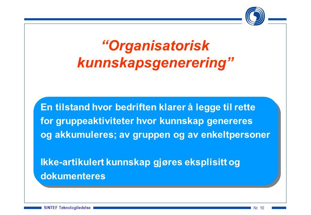 Organisatorisk kunnskapsgenerering