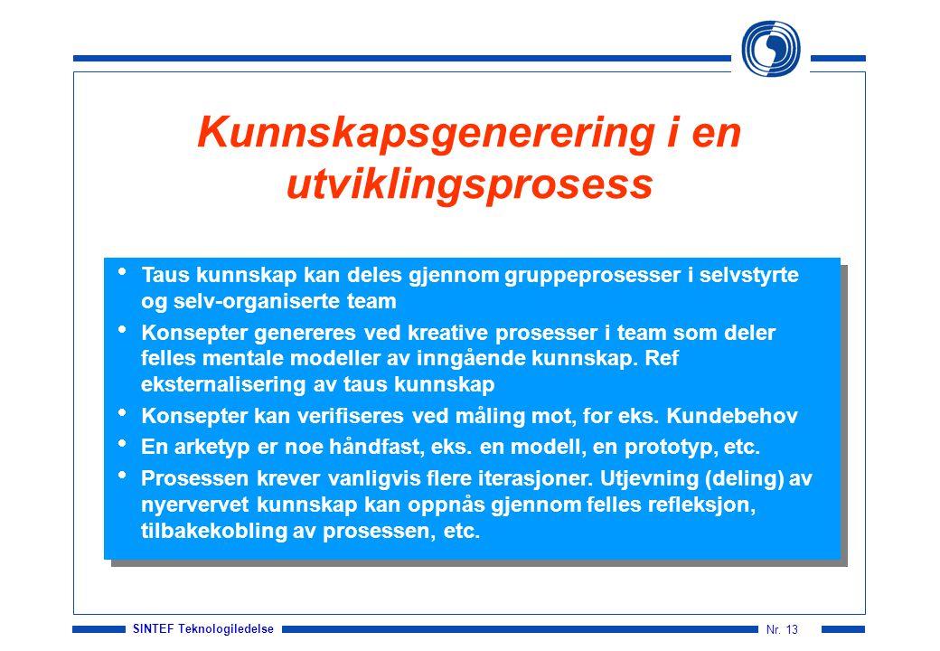 Kunnskapsgenerering i en utviklingsprosess