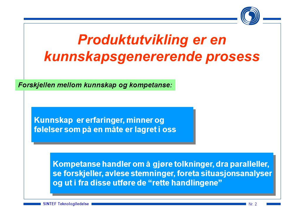 Produktutvikling er en kunnskapsgenererende prosess