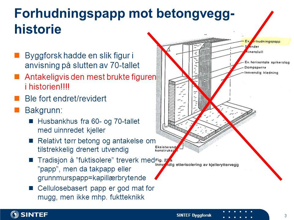 Forhudningspapp mot betongvegg-historie