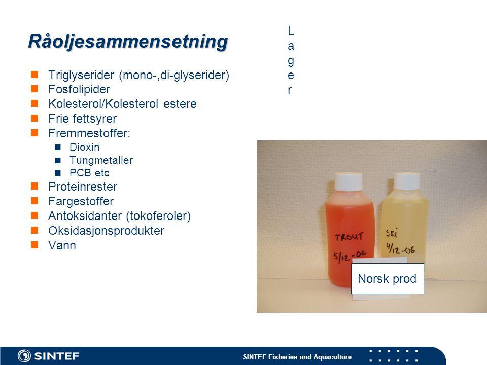 Råoljesammensetning Lager Triglyserider (mono-,di-glyserider)