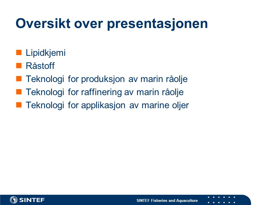 Oversikt over presentasjonen