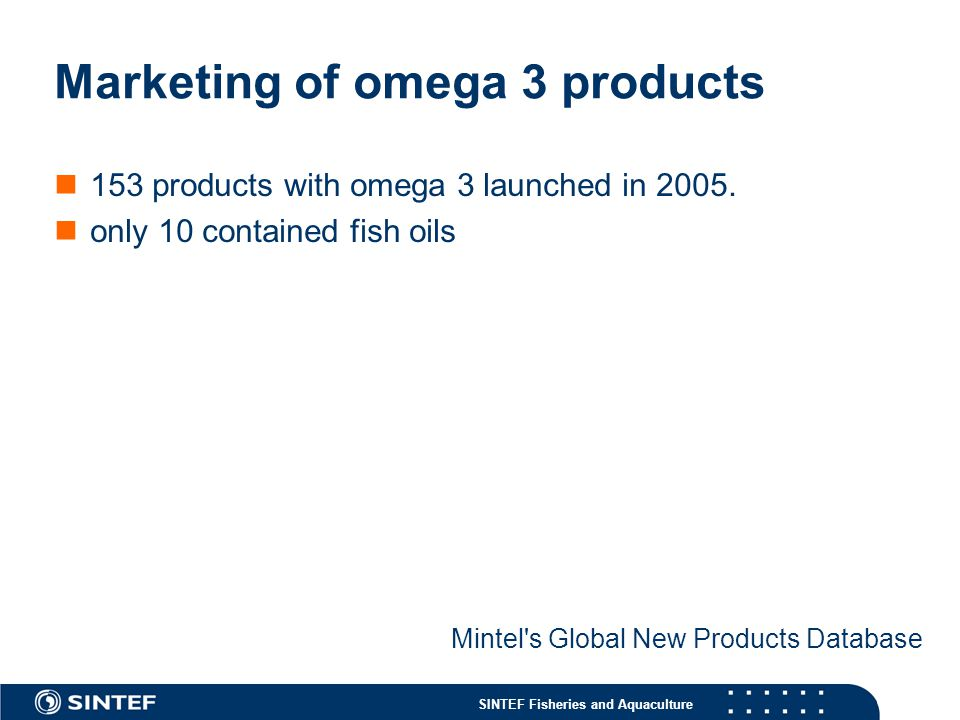 Marketing of omega 3 products