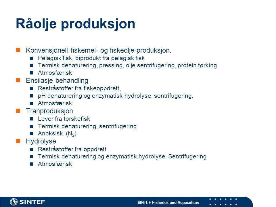 Råolje produksjon Konvensjonell fiskemel- og fiskeolje-produksjon.