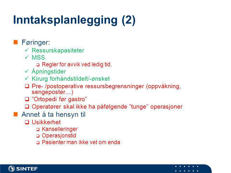Inntaksplanlegging (2)