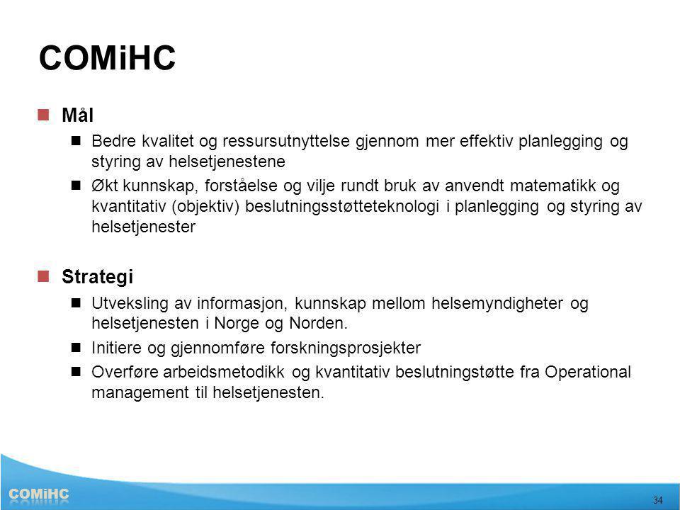 COMiHC Mål. Bedre kvalitet og ressursutnyttelse gjennom mer effektiv planlegging og styring av helsetjenestene.