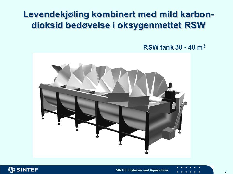 Levendekjøling kombinert med mild karbon- dioksid bedøvelse i oksygenmettet RSW
