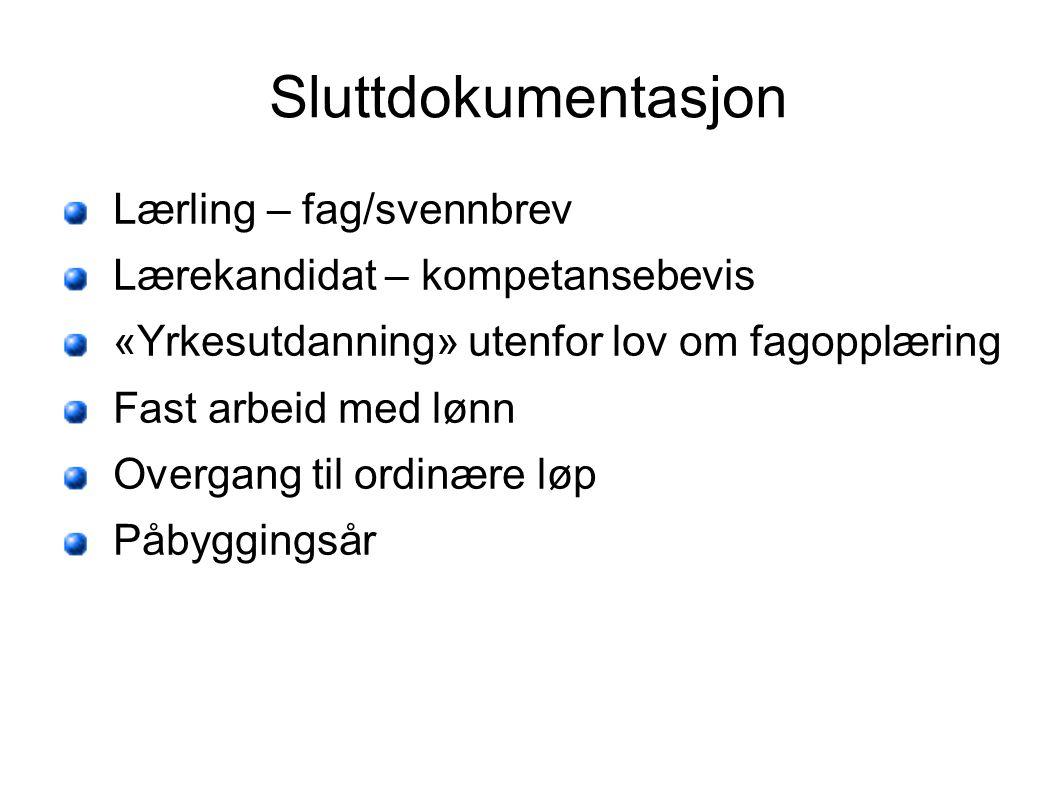 Sluttdokumentasjon Lærling – fag/svennbrev