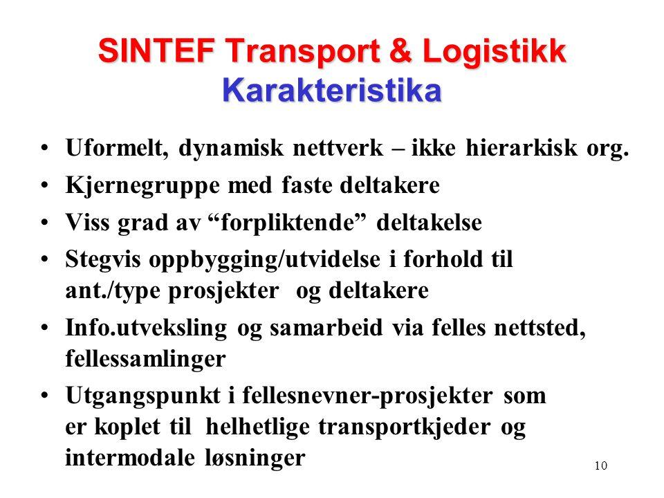 SINTEF Transport & Logistikk Karakteristika