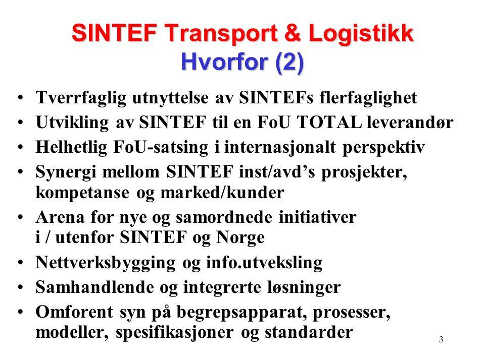 SINTEF Transport & Logistikk Hvorfor (2)