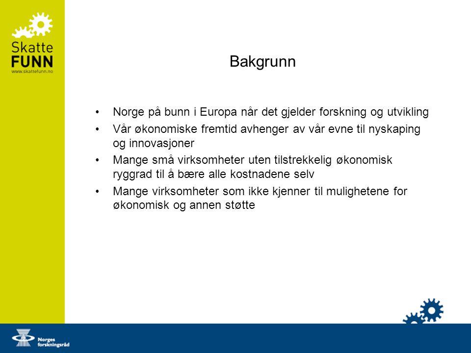 Bakgrunn Norge på bunn i Europa når det gjelder forskning og utvikling