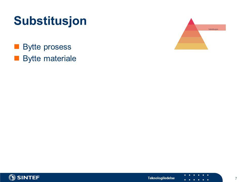 Substitusjon Bytte prosess Bytte materiale