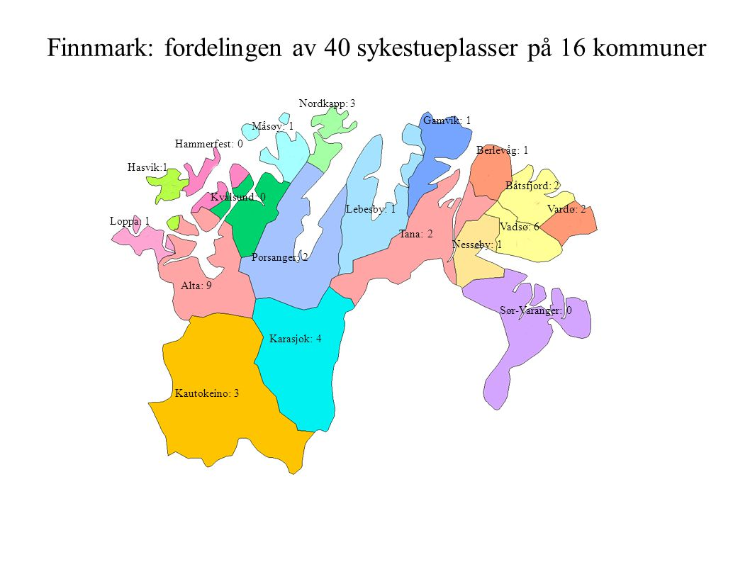 Finnmark: fordelingen av 40 sykestueplasser på 16 kommuner