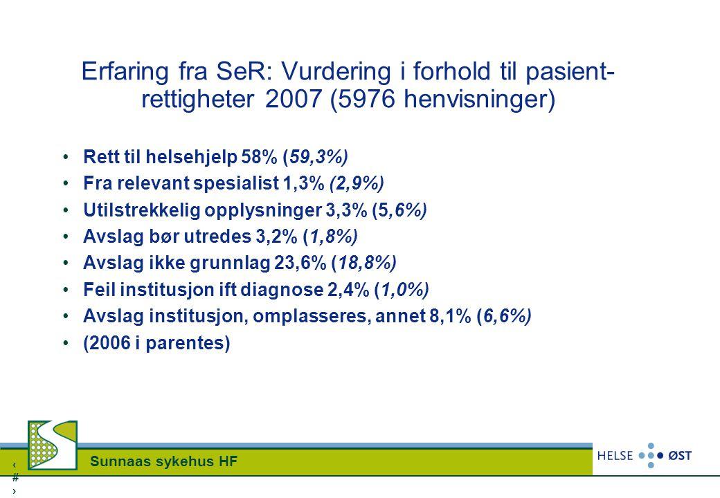 Erfaring fra SeR: Vurdering i forhold til pasient-rettigheter 2007 (5976 henvisninger)