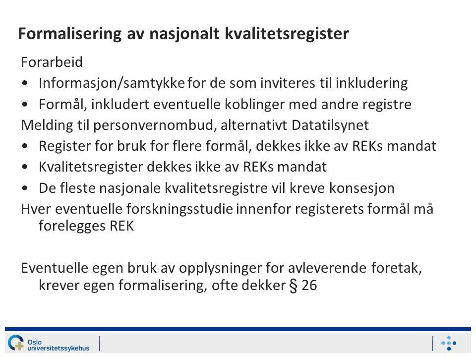 Formalisering av nasjonalt kvalitetsregister