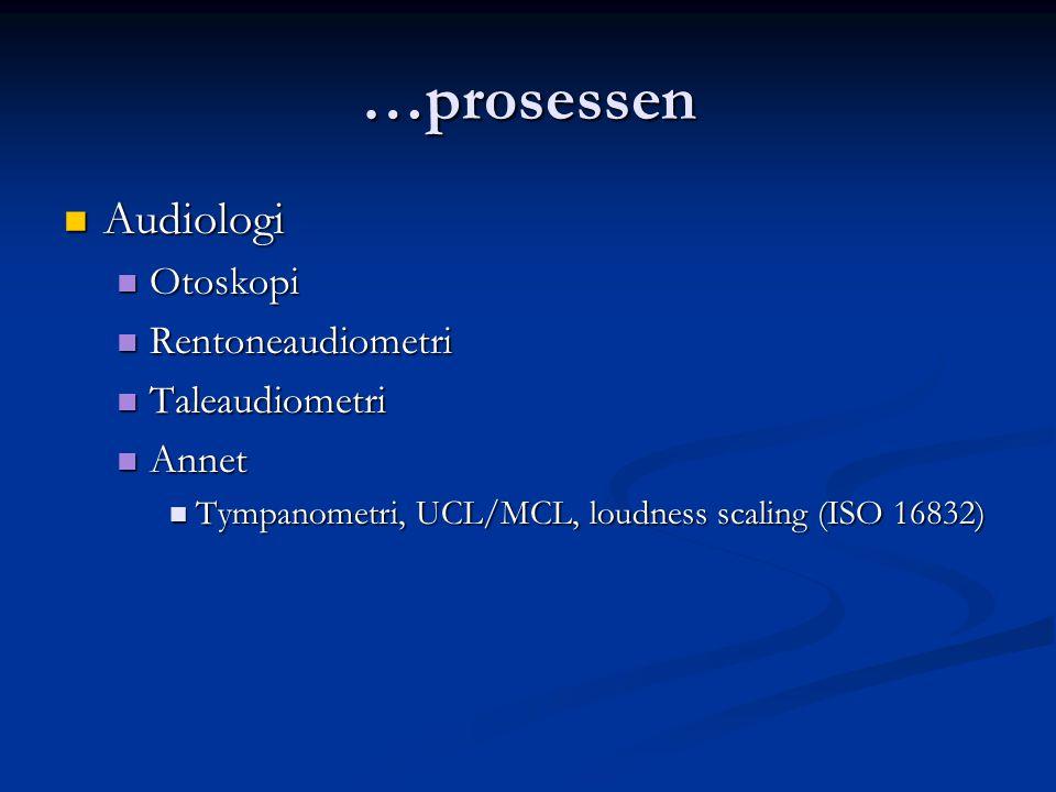 …prosessen Audiologi Otoskopi Rentoneaudiometri Taleaudiometri Annet