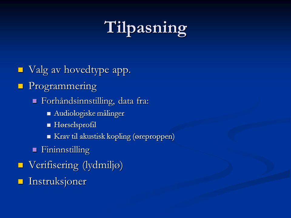 Tilpasning Valg av hovedtype app. Programmering