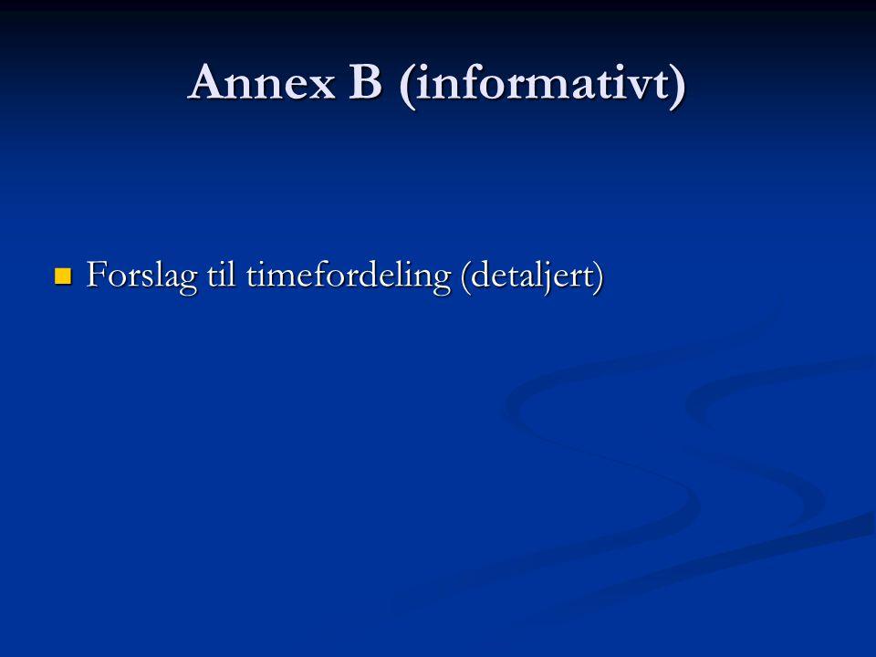 Annex B (informativt) Forslag til timefordeling (detaljert)