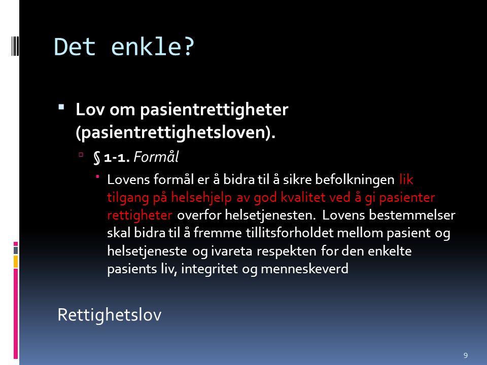 Det enkle Lov om pasientrettigheter (pasientrettighetsloven).
