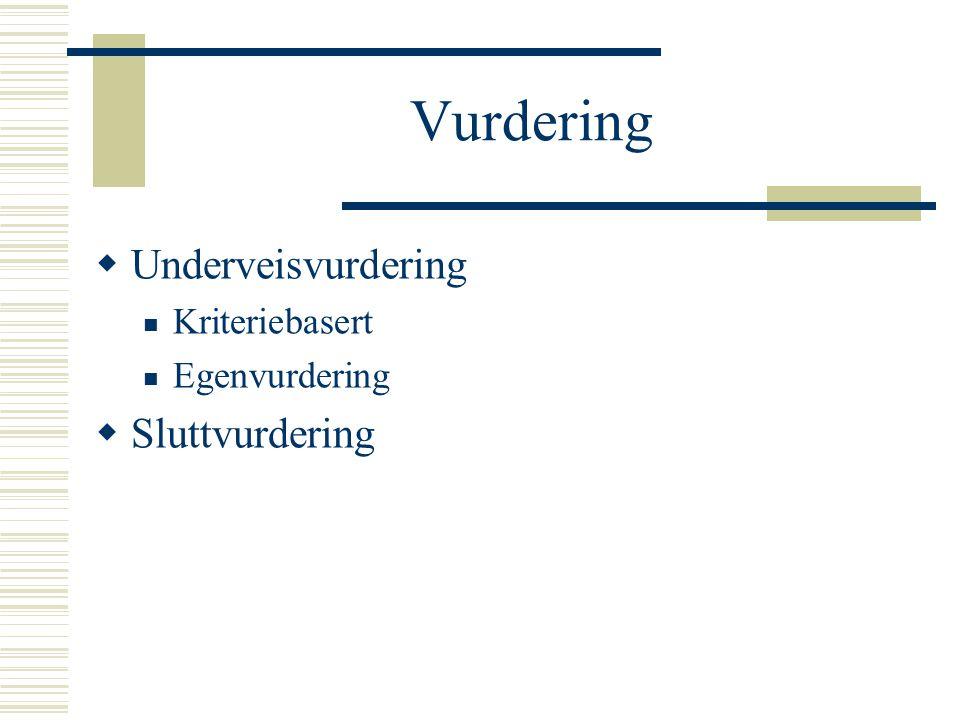 Vurdering Underveisvurdering Sluttvurdering Kriteriebasert