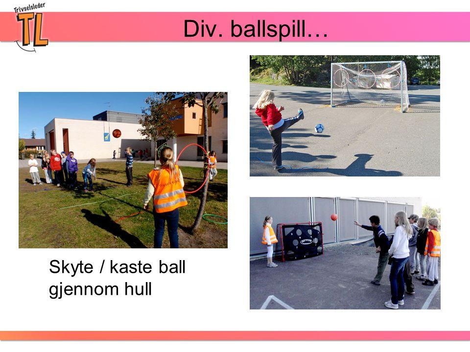 Div. ballspill… Skyte / kaste ball gjennom hull