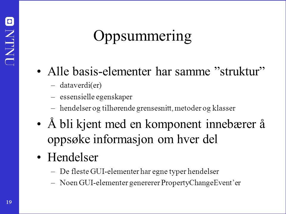 Oppsummering Alle basis-elementer har samme struktur