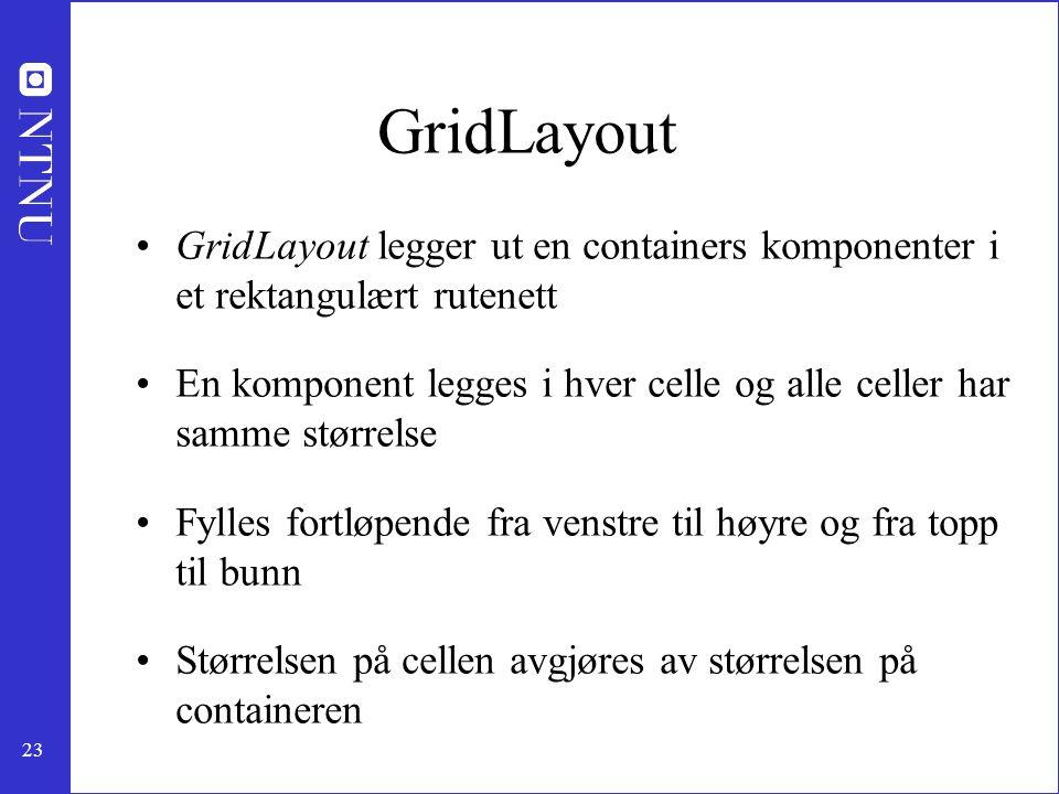 GridLayout GridLayout legger ut en containers komponenter i et rektangulært rutenett.