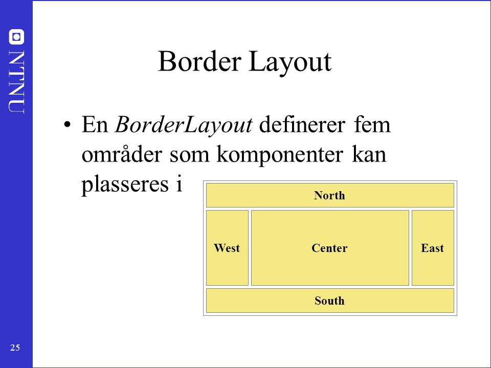 Border Layout En BorderLayout definerer fem områder som komponenter kan plasseres i. North. South.