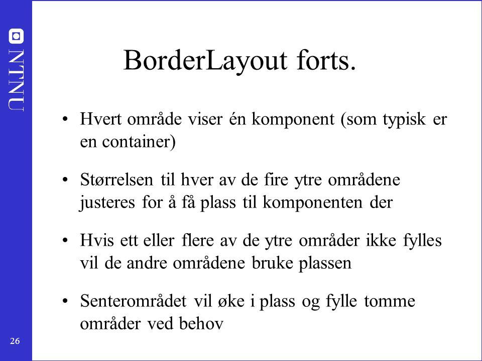 BorderLayout forts. Hvert område viser én komponent (som typisk er en container)