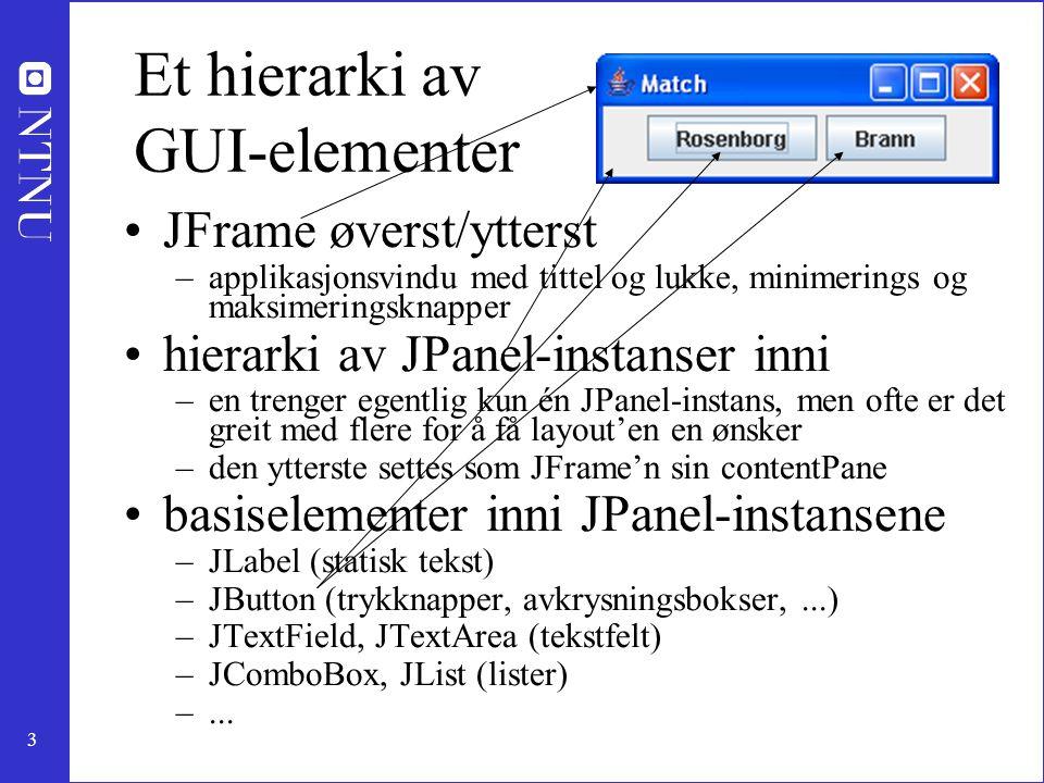 Et hierarki av GUI-elementer