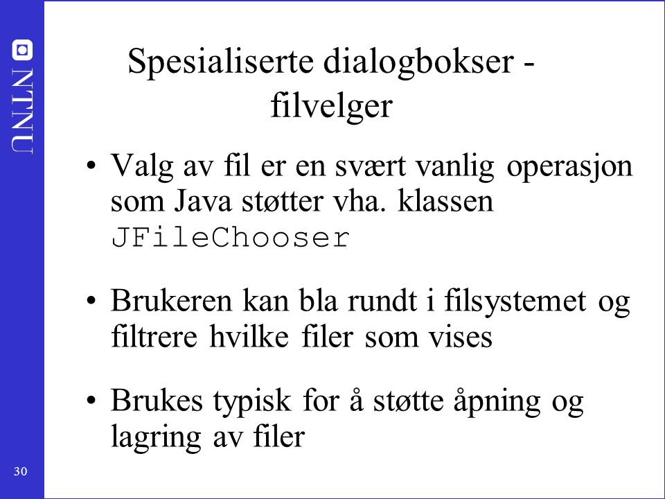 Spesialiserte dialogbokser - filvelger