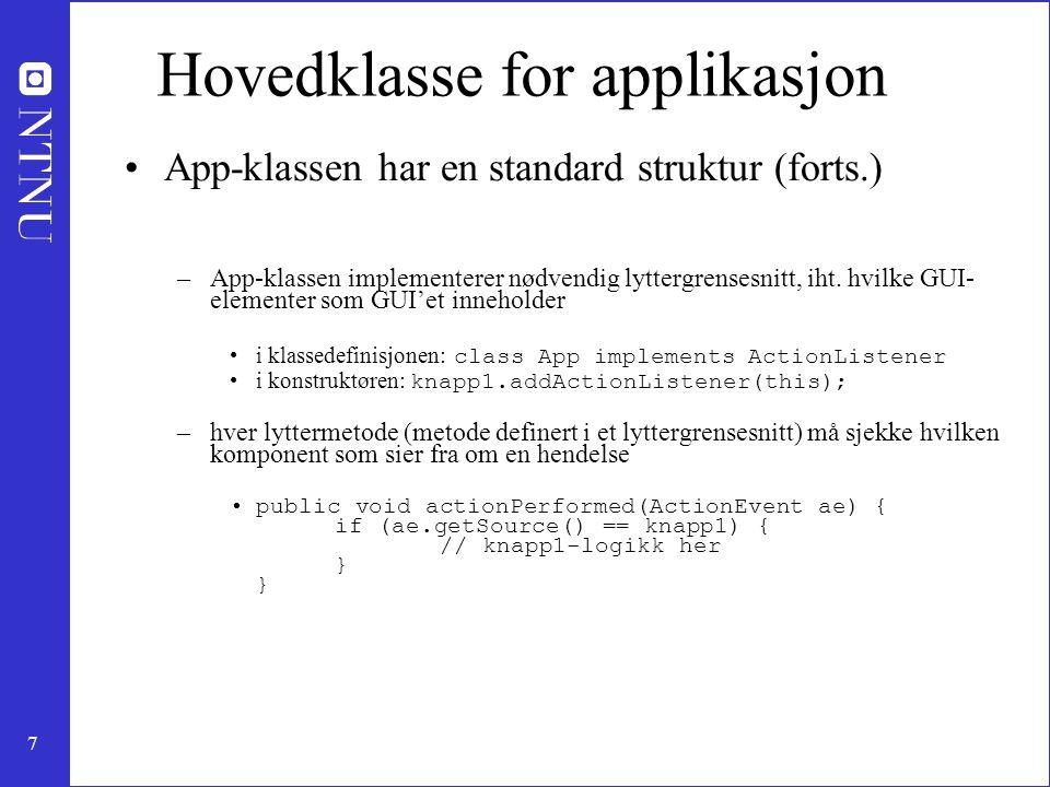 Hovedklasse for applikasjon