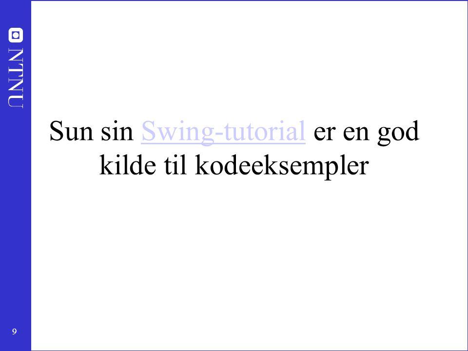 Sun sin Swing-tutorial er en god kilde til kodeeksempler