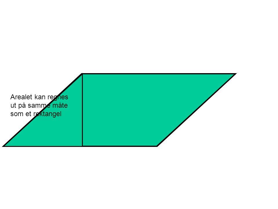 Arealet kan regnes ut på samme måte som et rektangel