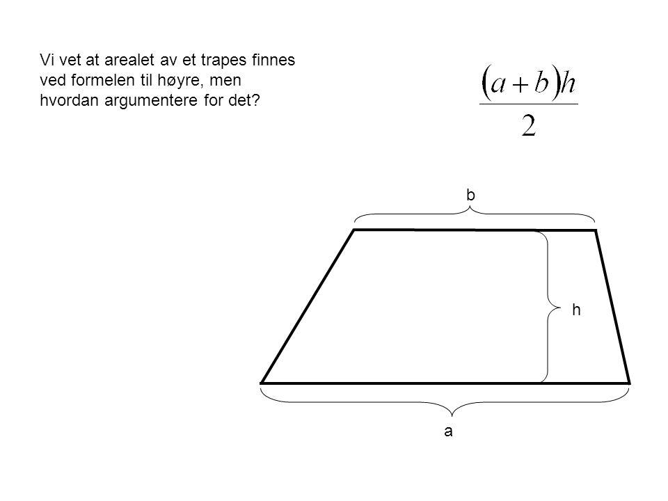 Vi vet at arealet av et trapes finnes ved formelen til høyre, men hvordan argumentere for det