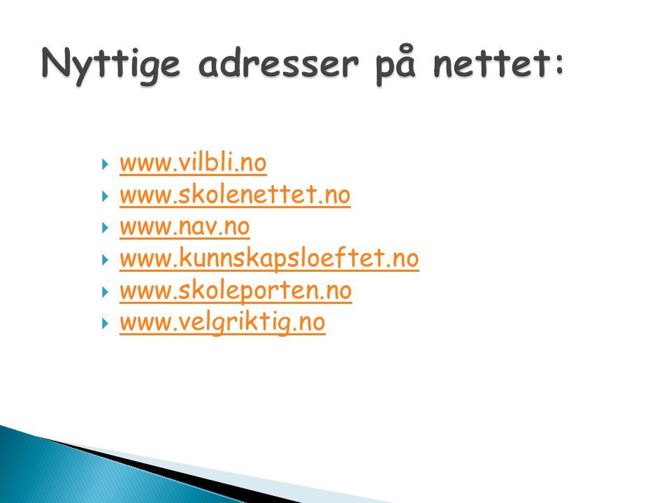 Nyttige adresser på nettet: