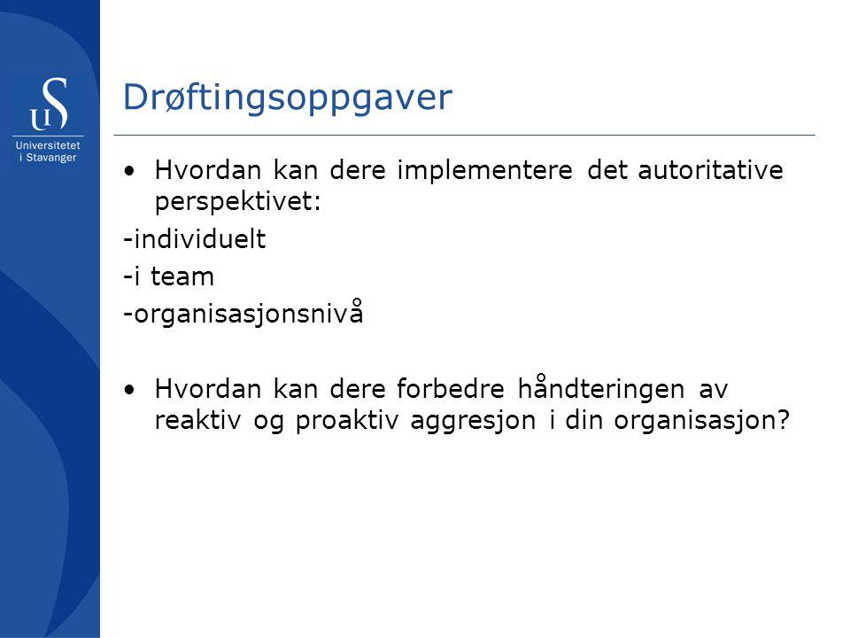 Drøftingsoppgaver Hvordan kan dere implementere det autoritative perspektivet: -individuelt. -i team.