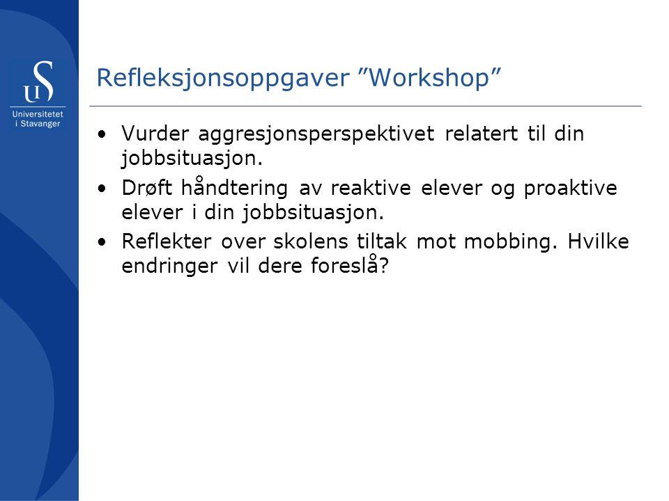Refleksjonsoppgaver Workshop