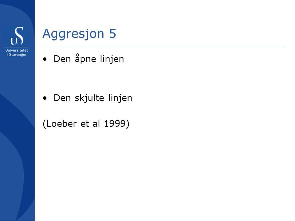 Aggresjon 5 Den åpne linjen Den skjulte linjen (Loeber et al 1999)