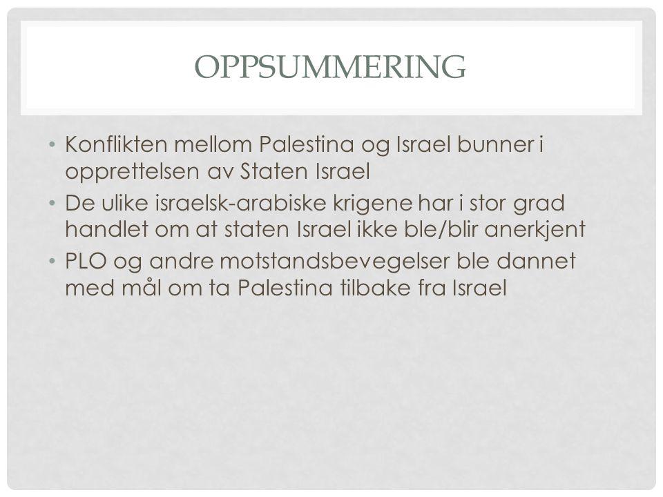 Oppsummering Konflikten mellom Palestina og Israel bunner i opprettelsen av Staten Israel.