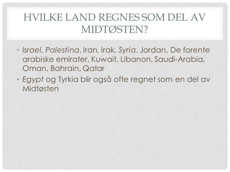 Hvilke land regnes som del av Midtøsten