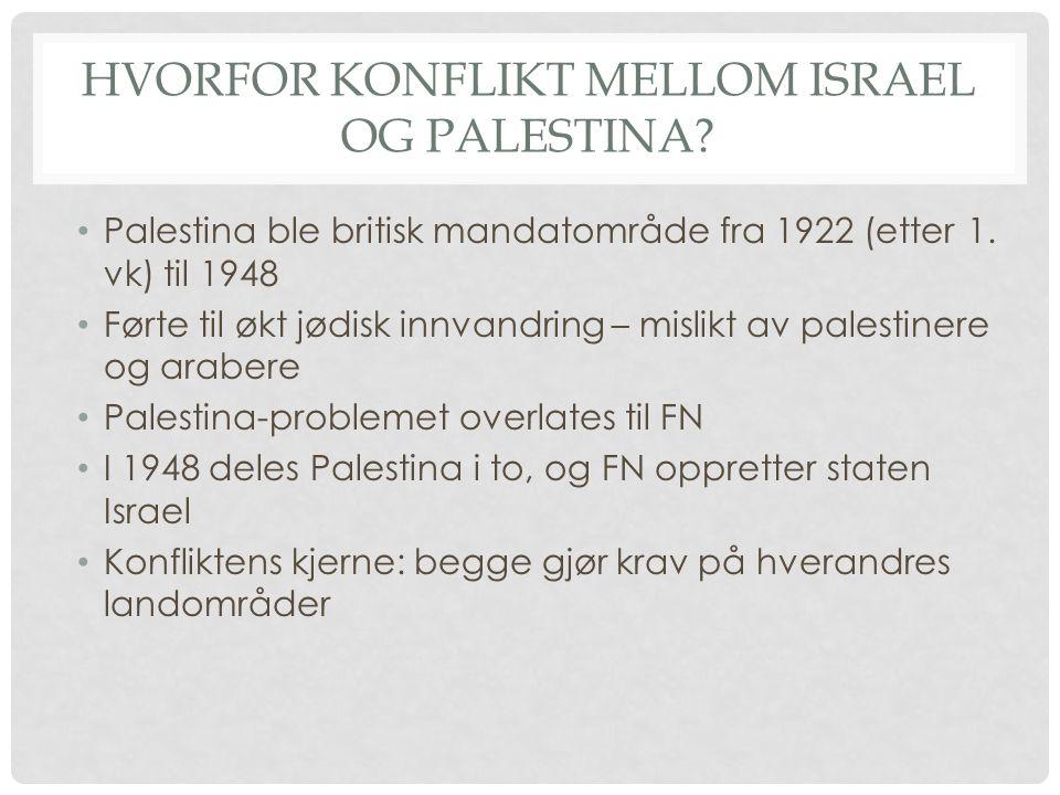 Hvorfor konflikt mellom israel og palestina