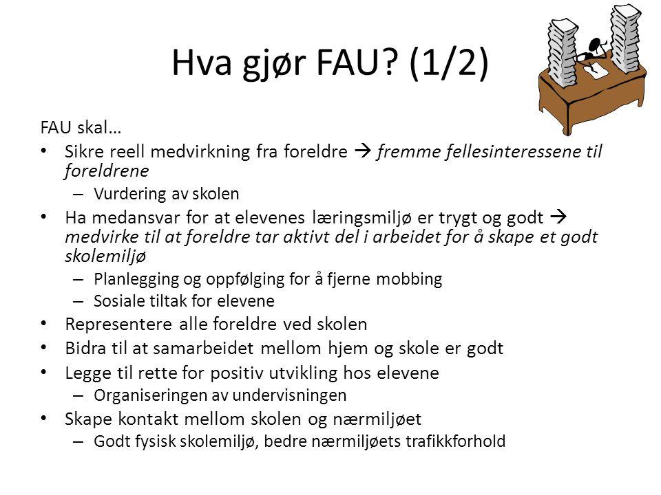 Hva gjør FAU (1/2) FAU skal…