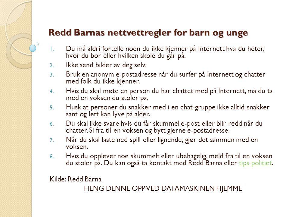 Redd Barnas nettvettregler for barn og unge
