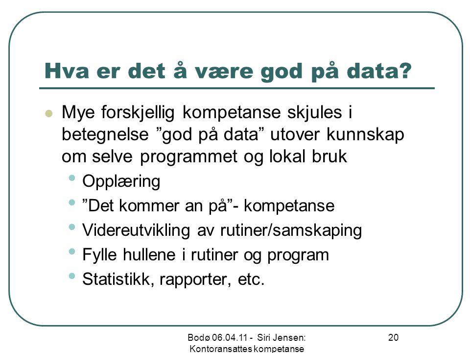 Hva er det å være god på data