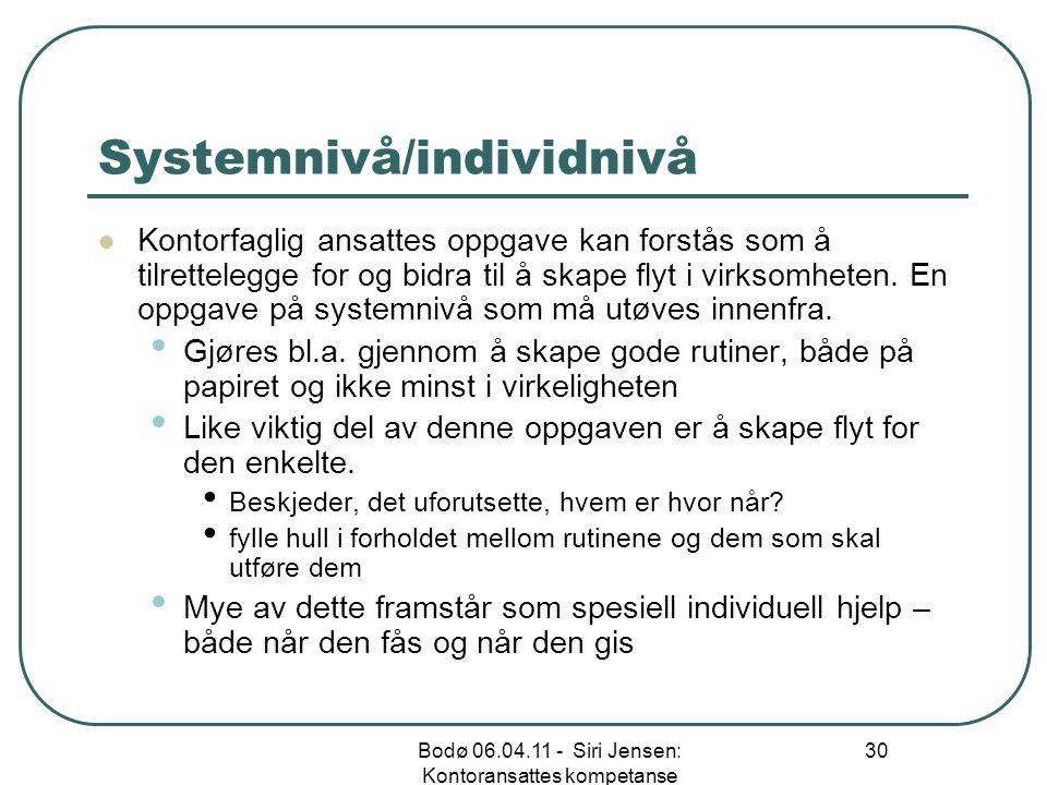 Systemnivå/individnivå