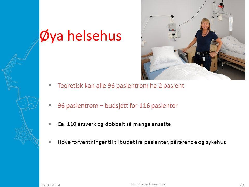 Øya helsehus Teoretisk kan alle 96 pasientrom ha 2 pasient