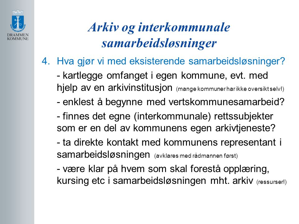 Arkiv og interkommunale samarbeidsløsninger